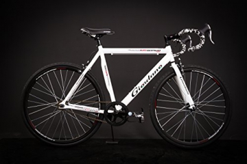 "28"" Zoll Alu Rennrad Single Speed GIORDANO Race Bike Fixi Fahrrad Rh 56cm weiss - 1"