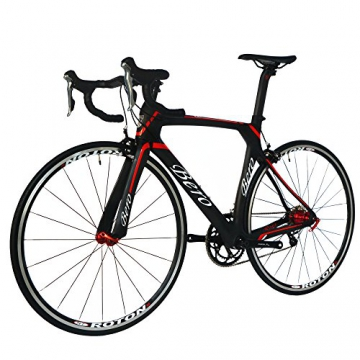 BEIOU® 2016 700C Rennrad Shimano 105 Bike 5800 11S Rennrad T800-M40 Carbon Aero-Rahmen Ultra-light 18.3lbs CB013A-2 (Matte Black&Red, 500mm) -