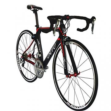 BEIOU® 2016 700C Rennrad Shimano 105 Bike 5800 11S Rennrad T800-M40 Carbon Aero-Rahmen Ultra-light 18.3lbs CB013A-2 (Matte Black&Red, 540mm) - 3