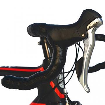 BEIOU® 2016 700C Rennrad Shimano 105 Bike 5800 11S Rennrad T800-M40 Carbon Aero-Rahmen Ultra-light 18.3lbs CB013A-2 (Matte Black&Red, 540mm) - 4