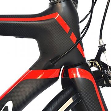 BEIOU® 2016 700C Rennrad Shimano 105 Bike 5800 11S Rennrad T800-M40 Carbon Aero-Rahmen Ultra-light 18.3lbs CB013A-2 (Matte Black&Red, 540mm) - 5