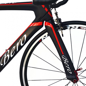 BEIOU® 2016 700C Rennrad Shimano 105 Bike 5800 11S Rennrad T800-M40 Carbon Aero-Rahmen Ultra-light 18.3lbs CB013A-2 (Matte Black&Red, 540mm) - 6