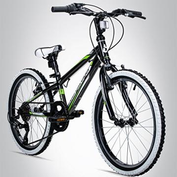 Bergsteiger Kansas 24 Zoll Kinderfahrrad, geeignet für 8, 9, 10, 11 Jahre, Shimano 6 Gang-Schaltung, Mountainbike mit Weißwandbereifung, Jungen-Fahrrad, Mädchen-Fahrrad - 1