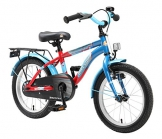 BIKESTAR Premium Sicherheits Kinderfahrrad 16 Zoll für Jungen und Mädchen ab 4 - 5 Jahre ★ 16er Kinderrad Modern ★ Fahrrad für Kinder Blau & Rot - 1