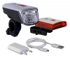 Büchel Batterieleuchtenset 40LUX LED Vancouver Li-ion Akku USB Ladegerät STVZO Zugelassen, Silber/Schwarz, 51225460 - 1