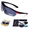 Carfia Multi TR90 UV 400 Outdoor Sport Brille Polarisiert Sonnenbrille Radbrille mit 5 wechselbare Linsen für Skilaufen Golf Radfahren Laufen Angeln Baseball - 1