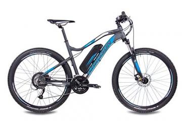 CHRISSON 27,5 Zoll E-Bike Mountainbike - E-Weger grau blau 53 cm - Elektro Fahrrad für Herren und Damen - 27 Gang Shimano Altus Kettenschaltung - Pedelec mit Bafang Hinterradmotor 250W, 45Nm - 2