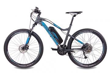 CHRISSON 27,5 Zoll E-Bike Mountainbike - E-Weger grau blau 53 cm - Elektro Fahrrad für Herren und Damen - 27 Gang Shimano Altus Kettenschaltung - Pedelec mit Bafang Hinterradmotor 250W, 45Nm - 3