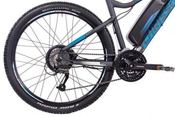 CHRISSON 27,5 Zoll E-Bike Mountainbike - E-Weger grau blau 53 cm - Elektro Fahrrad für Herren und Damen - 27 Gang Shimano Altus Kettenschaltung - Pedelec mit Bafang Hinterradmotor 250W, 45Nm - 6