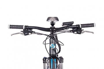 CHRISSON 27,5 Zoll E-Bike Mountainbike - E-Weger grau blau 53 cm - Elektro Fahrrad für Herren und Damen - 27 Gang Shimano Altus Kettenschaltung - Pedelec mit Bafang Hinterradmotor 250W, 45Nm - 8