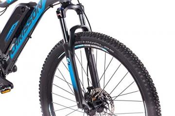 CHRISSON 27,5 Zoll E-Bike Mountainbike - E-Weger grau blau 53 cm - Elektro Fahrrad für Herren und Damen - 27 Gang Shimano Altus Kettenschaltung - Pedelec mit Bafang Hinterradmotor 250W, 45Nm - 9