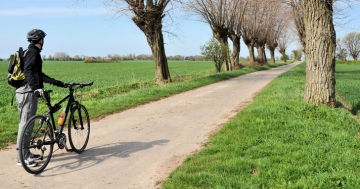 Mann mit Fahrrad auf Feldweg