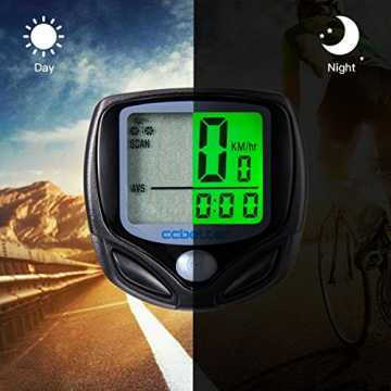 Fahrradcomputer Kabellos, ccbetter Fahrrad Computers Drahtlos Wasserdicht Tachometer Wireless Fahrradtacho Drahtloser für Radsport Realtime Speed Track - 2