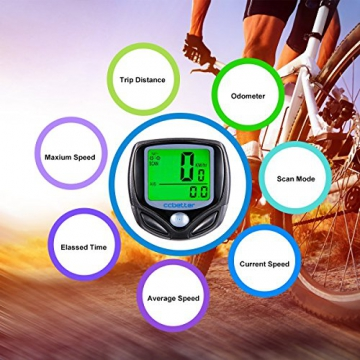 Fahrradcomputer Kabellos, ccbetter Fahrrad Computers Drahtlos Wasserdicht Tachometer Wireless Fahrradtacho Drahtloser für Radsport Realtime Speed Track - 4