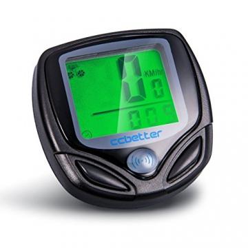 Fahrradcomputer Kabellos, ccbetter Fahrrad Computers Drahtlos Wasserdicht Tachometer Wireless Fahrradtacho Drahtloser für Radsport Realtime Speed Track - 1