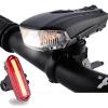 Fahrradlicht Set, FisherMo LED Fahhradbeleuchtung USB Wiederaufladbare Super Hell Fahrradlampe 400 Lumen mit Fahrrad Rücklicht, IPX6 Wasserdicht für Außen - 1