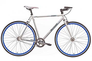 "Fixie 28 Zoll Singlespeed Retro Fahrrad in weiß / blau 28"" Fitnessbike Fixed Gear Rennrad Bike Flip Flop Nabe 56 cm Rahmenhöhe Damen Herren (weiß / blau, 56) - 2"