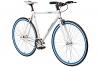 "Fixie 28 Zoll Singlespeed Retro Fahrrad in weiß / blau 28"" Fitnessbike Fixed Gear Rennrad Bike Flip Flop Nabe 56 cm Rahmenhöhe Damen Herren (weiß / blau, 56) - 1"