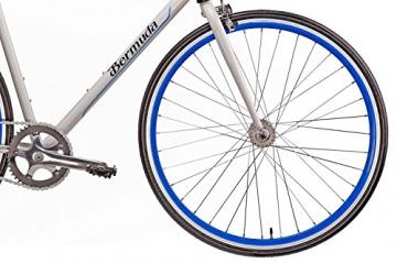 "Fixie 28 Zoll Singlespeed Retro Fahrrad in weiß / blau 28"" Fitnessbike Fixed Gear Rennrad Bike Flip Flop Nabe 56 cm Rahmenhöhe Damen Herren (weiß / blau, 56) - 3"