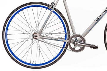 "Fixie 28 Zoll Singlespeed Retro Fahrrad in weiß / blau 28"" Fitnessbike Fixed Gear Rennrad Bike Flip Flop Nabe 56 cm Rahmenhöhe Damen Herren (weiß / blau, 56) - 4"