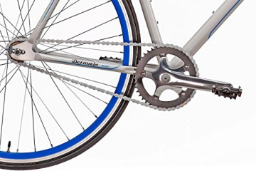 "Fixie 28 Zoll Singlespeed Retro Fahrrad in weiß / blau 28"" Fitnessbike Fixed Gear Rennrad Bike Flip Flop Nabe 56 cm Rahmenhöhe Damen Herren (weiß / blau, 56) - 5"