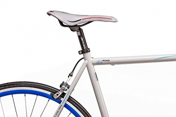 "Fixie 28 Zoll Singlespeed Retro Fahrrad in weiß / blau 28"" Fitnessbike Fixed Gear Rennrad Bike Flip Flop Nabe 56 cm Rahmenhöhe Damen Herren (weiß / blau, 56) - 6"