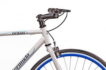 "Fixie 28 Zoll Singlespeed Retro Fahrrad in weiß / blau 28"" Fitnessbike Fixed Gear Rennrad Bike Flip Flop Nabe 56 cm Rahmenhöhe Damen Herren (weiß / blau, 56) - 7"