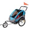 FROGGY Kinder Fahrradanhänger 360° Drehbar mit Federung + Joggerfunktion + 5-Punkt Sicherheitsgurt, 2in1 Anhänger für 1 bis 2 Kinder, Design Cyan - 1