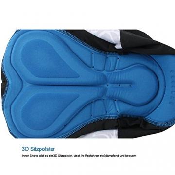 GWELL Herren Radtrikot Set Fahrrad Trikot Kurzarm + Radhose mit Sitzpolster (blau, L) - 6