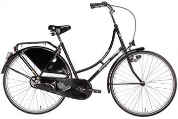 Hollandrad 28'' Bermuda Valencia Stadtrad Damen Holland Fahrrad Citybike Beleuchtung Gepäckträger Rücktrittbremse (schwarz) - 2