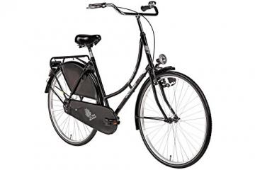 Hollandrad 28'' Bermuda Valencia Stadtrad Damen Holland Fahrrad Citybike Beleuchtung Gepäckträger Rücktrittbremse (schwarz) - 1