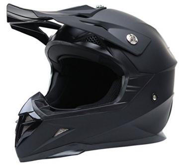 Motocross Motorradhelm Downhill Fullface Helm - Yema YM-915 Cross DH Enduro Quad Mountainbike BMX MTB Helm ECE für Damen Herren Erwachsene-Schwarz Matt-L - 2