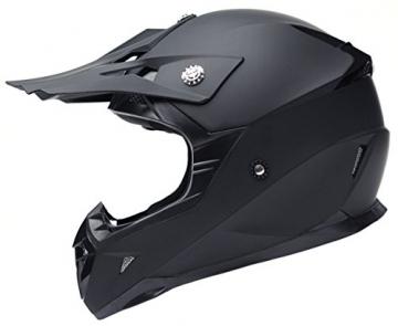 Motocross Motorradhelm Downhill Fullface Helm - Yema YM-915 Cross DH Enduro Quad Mountainbike BMX MTB Helm ECE für Damen Herren Erwachsene-Schwarz Matt-L - 1