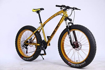 MYTNN Fatbike 26 Zoll 21 Gang Shimano Fat Tyre Mountainbike Gold 47 cm RH Snow Bike Fat Bike (Gold/Gold) - 1