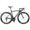 SAVA 700C Road Bike Carbon Fiber Bicycle SHIMANO 22 Speed 5800, Maxxis Sierra Tire and Fizik Saddle (Schwarz & Grau, 480mm) - 1