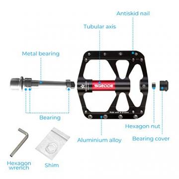 SGODDE Fahrradpedale, Mountainbike Fahrrad Pedale 3 Läger Rennrad Metall Pedale MTB Pedale mit Aluminiumlegierung Platform,Trekking Pedale Fahrrad mit Achsendurchmesser 9/16 Zoll (Schwarz) - 4