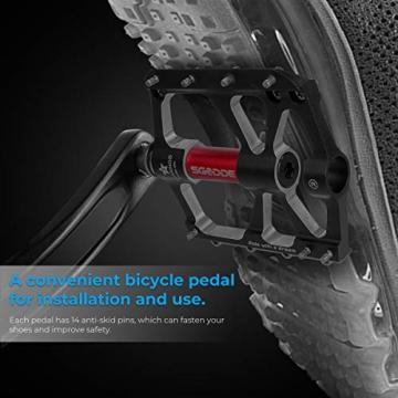 SGODDE Fahrradpedale, Mountainbike Fahrrad Pedale 3 Läger Rennrad Metall Pedale MTB Pedale mit Aluminiumlegierung Platform,Trekking Pedale Fahrrad mit Achsendurchmesser 9/16 Zoll (Schwarz) - 6