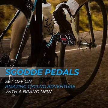 SGODDE Fahrradpedale, Mountainbike Fahrrad Pedale 3 Läger Rennrad Metall Pedale MTB Pedale mit Aluminiumlegierung Platform,Trekking Pedale Fahrrad mit Achsendurchmesser 9/16 Zoll (Schwarz) - 7