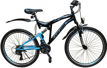 Talson 26 Zoll Mountainbike Fahrrad mit VOLLFEDERUNG & Beleuchtung 21-Gang Shimano OXT Black - 2
