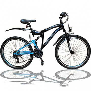 Talson 26 Zoll Mountainbike Fahrrad mit VOLLFEDERUNG & Beleuchtung 21-Gang Shimano OXT Black - 1