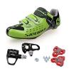 TXJ Rennradschuhe Fahrradschuhe Radsportschuhe mit Klickpedale EU Größe 42 Ft 26.5cm (SD-001 Grün / Schwarz)(pedale schwarz) - 1