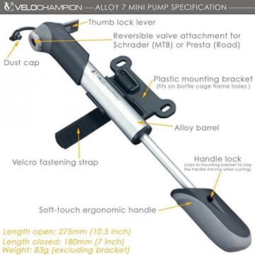 VeloChampion Alloy 7 Mini-Fahrradpumpe aus Aluminium, Silber/Schwarz - Mini Bike Pump - 2
