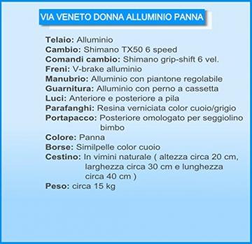 Via Veneto By Canellini Fahrrad Rad Citybike CTB Frau Vintage Retro Via Veneto Alluminium (Beige, 46) - 4