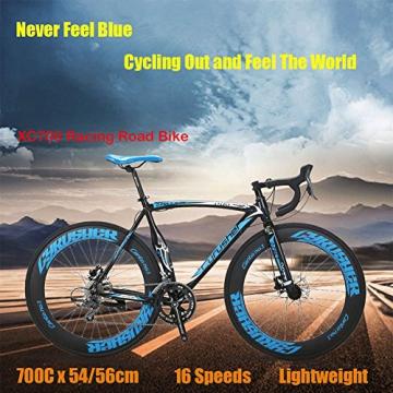Weihnachten Geschenk extrbici XC700Sports Racing Road Bike Pro 700cx700mm Rad 56cm leichte Aluminium-Legierung Rahmen 14Speed Shimano 2300Shift Gears Mans Road Fahrrad Doppel Mechanische Scheibenbremsen, blau - 2