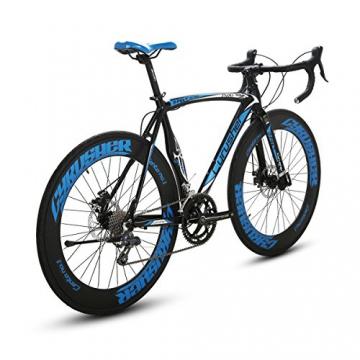 Weihnachten Geschenk extrbici XC700Sports Racing Road Bike Pro 700cx700mm Rad 56cm leichte Aluminium-Legierung Rahmen 14Speed Shimano 2300Shift Gears Mans Road Fahrrad Doppel Mechanische Scheibenbremsen, blau - 3
