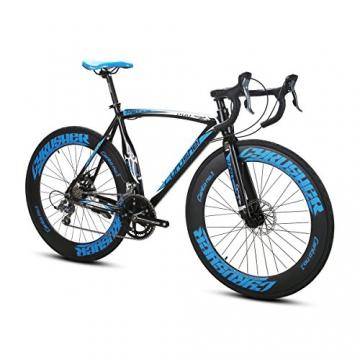 Weihnachten Geschenk extrbici XC700Sports Racing Road Bike Pro 700cx700mm Rad 56cm leichte Aluminium-Legierung Rahmen 14Speed Shimano 2300Shift Gears Mans Road Fahrrad Doppel Mechanische Scheibenbremsen, blau - 1